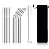 11Pcs Stainless Steel Metal Drinking Straw Reusable Straws