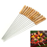 12X Stainless Steel Metal Barbeque Skewer Needle BBQ Kebab Stick Utensil 30cm BBQ Stick Fork