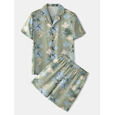 Mens Abstract Floral Print Revere Collar Button Up Home Casual Pajama Set