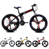 26 Inch MACCE 21/24 Speed Folding Mountain Bike Disc Brake High Carbon Steel Frame Bicycle Light Weight MTB Gear Cycle