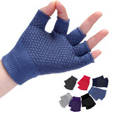 Women Non Slip Sporty Style Design Fingerless Yoga Gloves