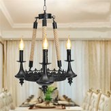 E14 3 teste lampadario in ferro soggiorno sala da pranzo luce di soffitto lampada a sospensione AC110-220V
