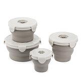 Jordan & Judy 1 Pcs Copo Dobrável Silicone Almoço Caixa Tigela De Refeição Recipiente De Alimentos Piquenique Camping