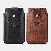 Hommes rétro en cuir PU avec support de fente pour carte Sac de rangement pour téléphone portable à 2 couches
