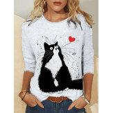 Blusas casuais femininas com estampa de gato bonito com decote em O Plus