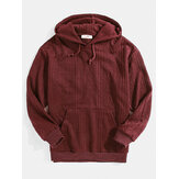 Mens Thread Designer Solid Color Pullover Hoodies With Kangaroo Pocket