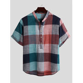 Herren Vintage Plaid Color Block Style Stehkragen Half Button Casual Henley Shirts