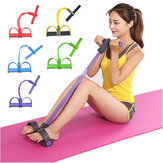4-Tubes Fitness Elastic Sit Up Pull Rope With Pedal Abdominal Training Body Shaping Yoga Resistance Band