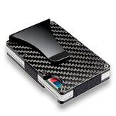 Soporte Delgado de Tarjeta de Crédito de Fibra de Carbono RFID Bloqueo de Cartera de me<x>tal Carcasa de Clip de Dinero