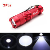 3Pcs Color rojo MECO Q5 500LM Multicolor Zoomable Mini LED Linterna 14500 / AA