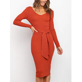 Long Sleeve Belted Knit Bodycon Solid Color Midi Dress