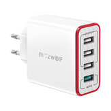 BlitzWolf® BW-PL5 30W QC3.0 Fast Charging 2.4A 4-Ports USB Charger EU Plug Adapter with Spower for HUAWEI P20 Mate20 Pro Xiaomi MI9 S10