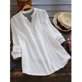 Camicie da donna in cotone tinta unita con scollo a V e manica lunga