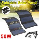 Dobrável à prova d'água 50W 5V com 10 em 1 cabo USB Painel solar Sun Power Células solares Pacote de banco para mochila de telefone