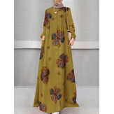 Women Floral Print Holiday A-Line Button Up Long Sleeve Muslim Dress Abaya Kaftan With Pocket