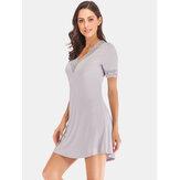 Damen Modal Lace-Trim Casual Loungewear Kurzarm Nachtwäsche Nachthemd
