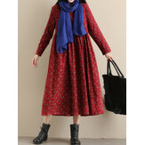 Women Pockets Floral Print Loose Long Sleeve Pleated Dress