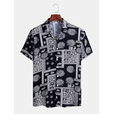 Mens Bandana Print Ethnic Short Sleeve Vintage Shirts
