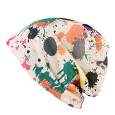 Vrouwen Double Hat Sjaal Color Printing Stripe Mode Bonnet Cap Multi-Function Neck Sjaals