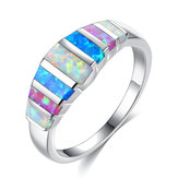 Unisex Trendy Colorful Opal Anéis Casuais Casamento Jewerly