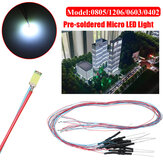 10PCS 30CM 0805/1206/0603/0402 Pre-soldered Micro LED Light With Resistance For Sand Table Model 12V
