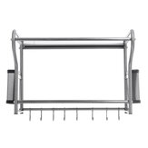 Microwave Oven Rack Kitchen Stainless Steel Wall Bracket Shelf Holder With Hooks