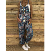 Vintage Fish Print Women Casual Loose Jumpsuit with Pockets