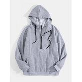 Sweats à capuche solides à cordon coulissant en coton à demi-zip pour hommes avec poche