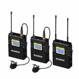 MAMEN WMIC-01UHFデュアルチャンネルワイヤレスマイクシステム2送信機1受信機カメラ付き携帯電話用50チャンネルマイク