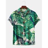 Men Leaves Print Turn Down Collar Hawaii Casual Short Sleeve Shirts