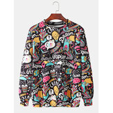 Mens Cotton Allover Funny Letter Print Crew Neck Casual Pullover Sweatshirts