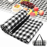 200X200CM Waterproof Extra Large Picnic Blanket Rug Folding Mat Premium Cashmere Black Rug Machine Washable Mat for Family Beach Outdoor