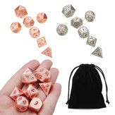 7pcs Heavy Metal poliédrico Dices DnD RPG SET w / Bolsa