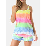 Women MultiColor Gradient Ruffles Camisole Shorts Comfy Pajama Set