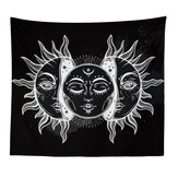 Sun and Moon Tapestry Burning Sun with Star Tapestry Psychedelic Tapestry Black and White Wall Hanging Tapestry