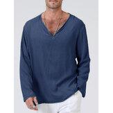 Мужские однотонные повседневные футболки с длинным рукавом из 100% хлопка с v-образным вырезом
