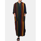 Mens Vintage Multi-Color Striped Print Button Up Home Casual Long Sleeve Robes With Pockets