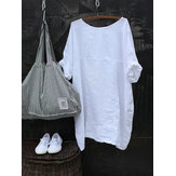 Women Casual Solid Color Cotton Half Sleeve Blouse