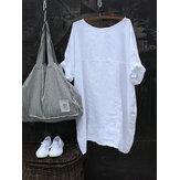 Blusa de media manga de algodón de color sólido casual para mujer