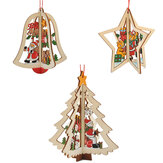 Kerstmis 3D Houten Hanger Star Bell Tree Hang Ornamenten Home Party Decorations Kids Gifts