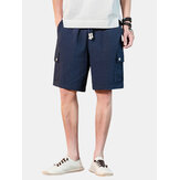 4 Colors Mens Solid Color Drawstring Casual Shorts With Pocket
