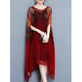 Elegant Printed Irregular Two Piece Dress