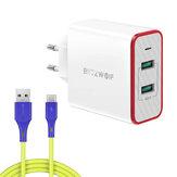 BlitzWolf® BW-PL3 36W QC3.0 Duas portas USB Carregador de parede Adaptador de plugue UE com BlitzWolf® BW-TC14 3A Cabo USB Type-C de 1 m / 3,3 pés para iPhone 12 12Pro