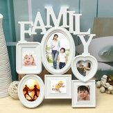Quadro de foto familiar Moldura fotográfica Suspensão de parede Suporte de imagem Display Decoração de casa Plástico branco