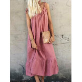 Casual Loose Spaghetti Straps Solid Color Ruffles Hem Dress