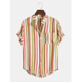Mens Vertical Stripe Button Up Stand Collar Breathable Short Sleve Shirts