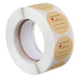 500 stks / rol 1 Inch Label DIY Ronde Kraft Label Handgemaakt Met Love Label Stickers Zelfklevende Sticker Verpakking Geschenk Roll Tape