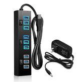 ELE 5V Hub USB 3.0 mozzo alimentato da 2 A 10 porte di ricarica con interruttori on / off dell'adattatore di alimentazione