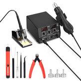 NEWACALOX 886D 220V 750W Stazione di rilavorazione digitale 2 in 1 saldatura Strumento per preriscaldatore di PCB ad aria calda in ferro con porta USB 5V 2A
