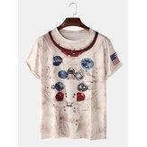 Abstrakter Druck Lässige T-Shirts mit rundem Hals und kurzen Ärmeln